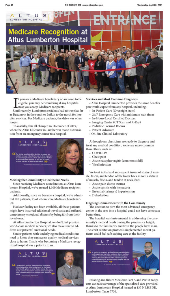 the silsbee bee article Medicare Recognition at Altus Lumberton Hospital